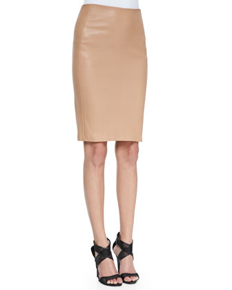 Doris Cropped Lace-Sleeve Cardigan & Marta Paneled Leather Pencil Skirt