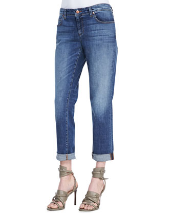 3/4-Sleeve Lightweight Linen Top & Stretch Boyfriend Jeans