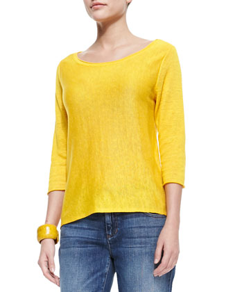 3/4-Sleeve Lightweight Linen Top, Petite