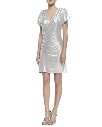 Short-Sleeve Faux-Wrap Metallic Dress