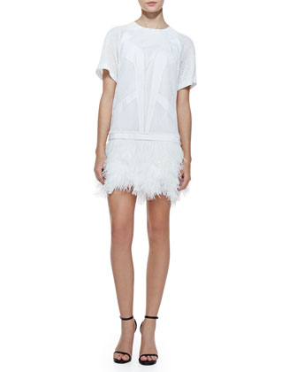 Tribal Silk/Jersey Combo Ostrich Feather Dress