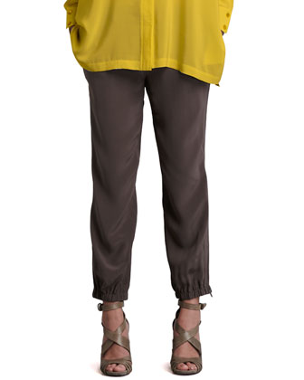 Silk Cargo Cropped Pants