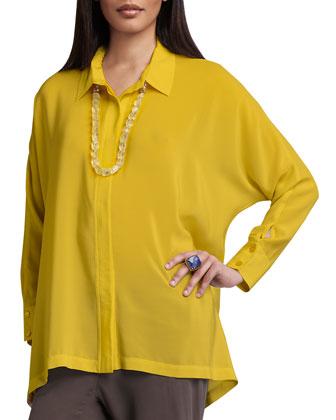 Long-Sleeve Boxy Silk Blouse, Petite