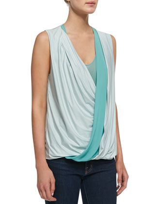 Jersey Wrap-Stripe Sleeveless Top