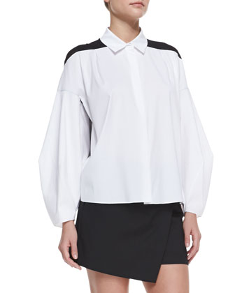 Poplin & Silk Combo Illusion Long-Sleeve Shirt