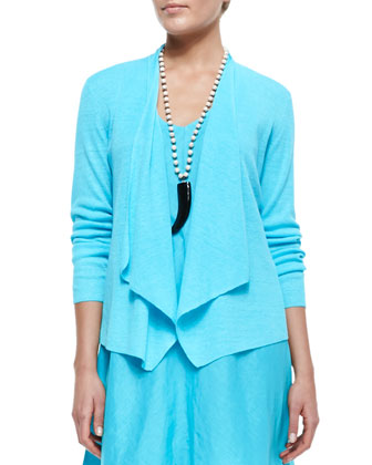 Organic-Linen Angled-Front Cardigan & Knee-Length Bias Dress, Petite