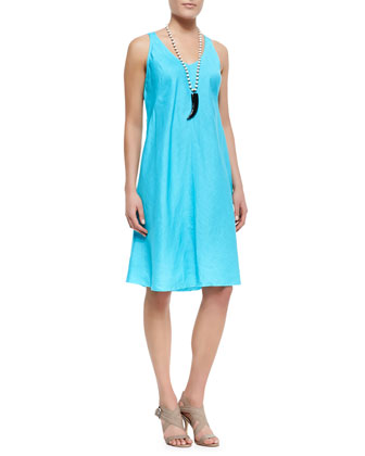 Organic-Linen Knee-Length Bias Dress, Petite