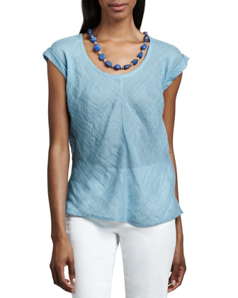 Linen One-Button Jacket & Short-Sleeve Linen Gauze Top, Petite