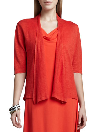 Cropped Lightweight Linen Cardigan & Cowl-Neck Jersey Dress, Women's