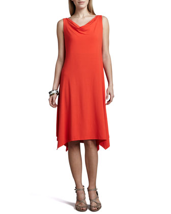 Cowl-Neck Jersey Dress, Petite