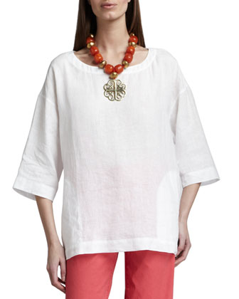 Boxy Linen Top, Women's
