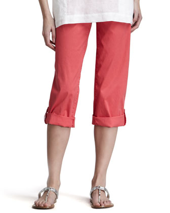 Cuffed Twill Capri Pants, Strawberry, Petite