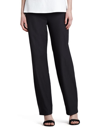 Washable Stretch-Crepe Straight-Leg Pants, Petite
