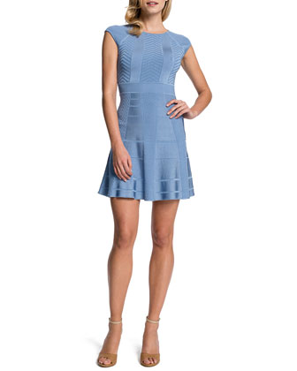 Tamra Fit-and-Flare Dress, Misty Blue