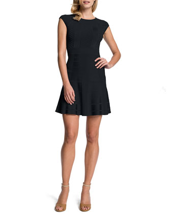 Tamra Fit-and-Flare Dress, Black
