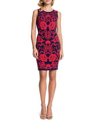 Briella Sleeveless Floral-Print Sheath Dress