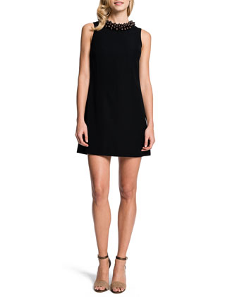 Ada Beaded-Neck A-line Dress