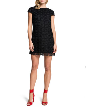 Audrina Cap-Sleeve Lace Squares Dress