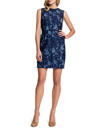 Elenora Sleeveless Seamed Lace Sheath Dress