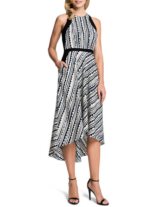 Raelyn Sleeveless Printed High-Low Dress
