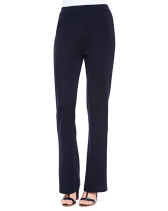 Boot-Cut Knit Pants, Navy, Petite