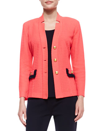 Textured & Tipped Three-Button Jacket, Petite