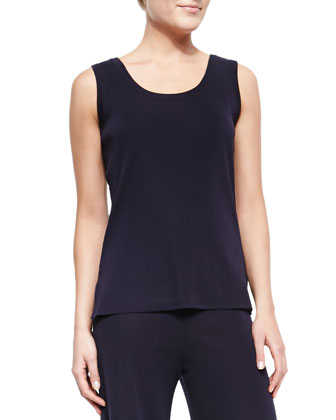 Slim Scoop-Neck Tank, Navy, Women's