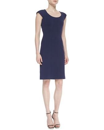 April Cap-Sleeve Scoop-Neck Sheath Dress
