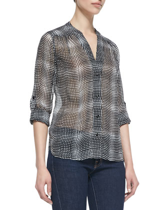 Harlow Optic Plaid Button-Down Blouse