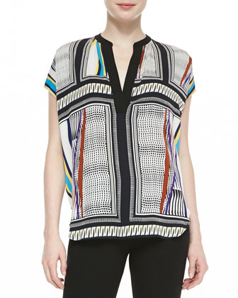 Alana Short-Sleeve Glass Scarf-Print Shirt