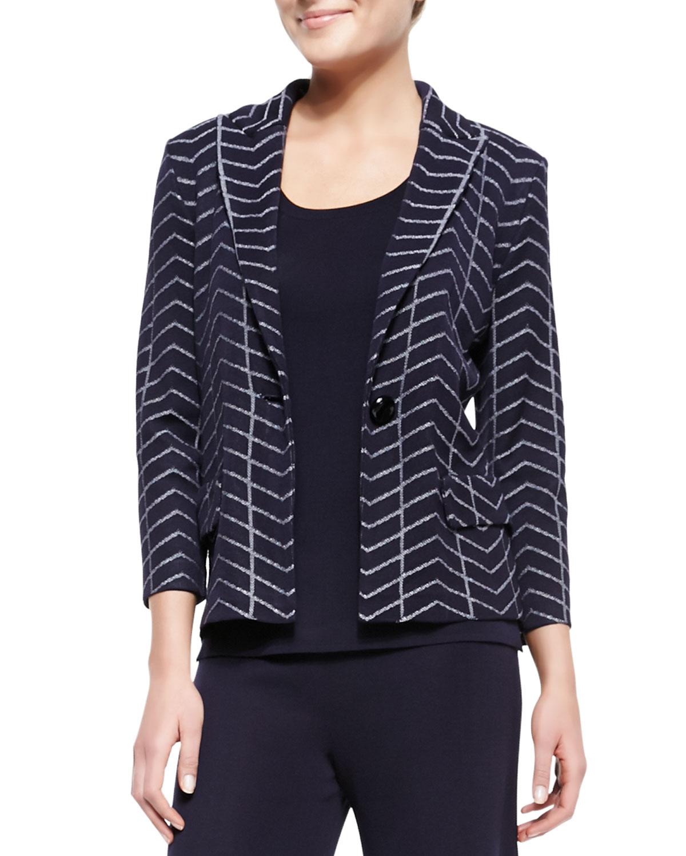 Womens Spider Web One Button Jacket, Petite   Misook   Navy/White (PL (12/14))
