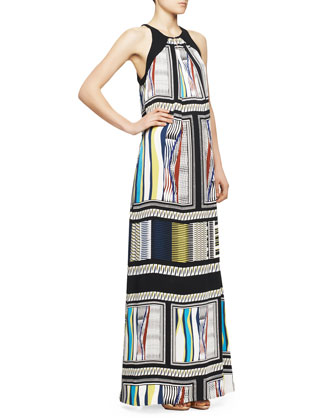 Jordan Halter Glass Scarf-Print Maxi Dress, Black/Multicolor