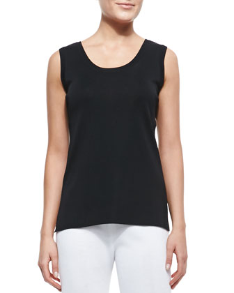 Slim Scoop-Neck Tank, Black, Women's