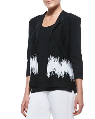 3/4-Sleeve Graphic-Print Jacket, Women's