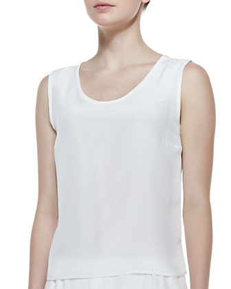 Long Crepe Tank, White