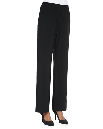 Straight-Leg Jersey Pants, Black, Petite