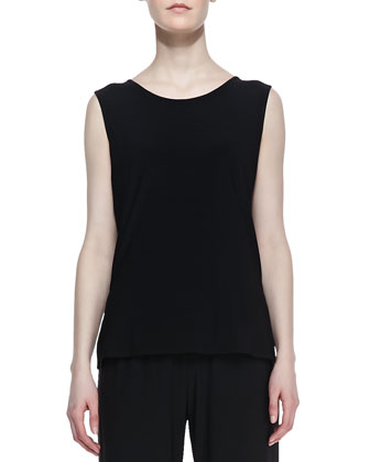 Stretch-Knit Long Tank, Black, Petite