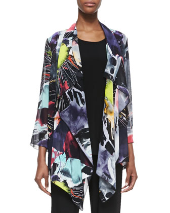 Long Printed Waterfall Jacket, Petite