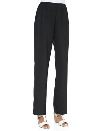 Travel Linen Straight-Leg Pants, Petite