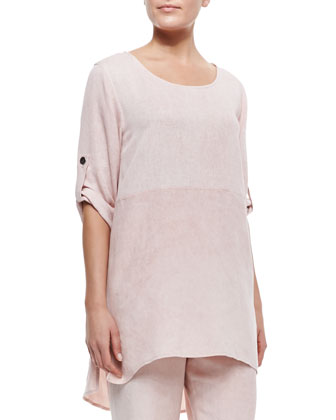 Tumbled-Texture High-Low Tunic, Petite