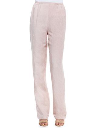 Tumbled-Texture Flat-Front Pants, Petite