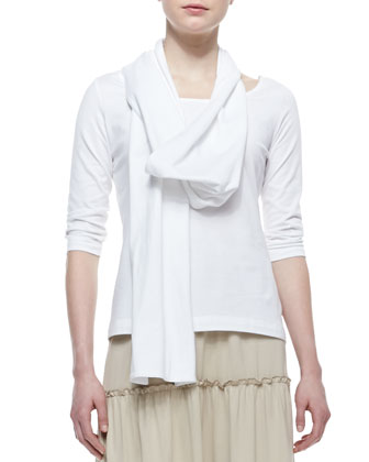 3/4-Sleeve Cotton Top, Tiered Peasant Jersey Skirt & Cotton Interlock ...