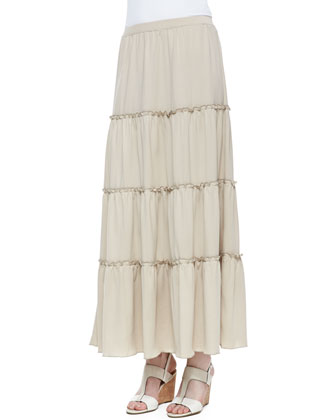 Tiered Peasant Jersey Skirt, Petite