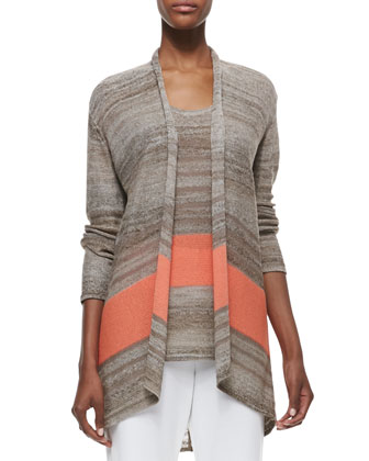 Serape Striped Long Cardigan, Knit Tank & Slim Ponte Ankle Pants