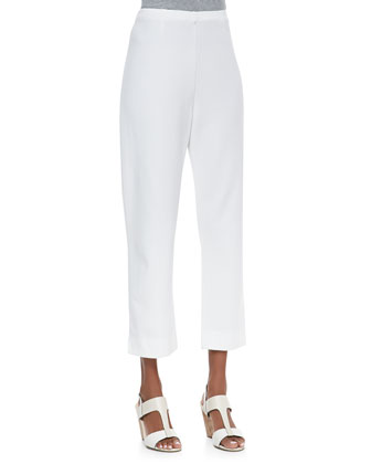 Slim Ponte Ankle Pants, White