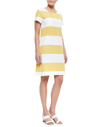 Striped Pique Short-Sleeve Dress, Women's