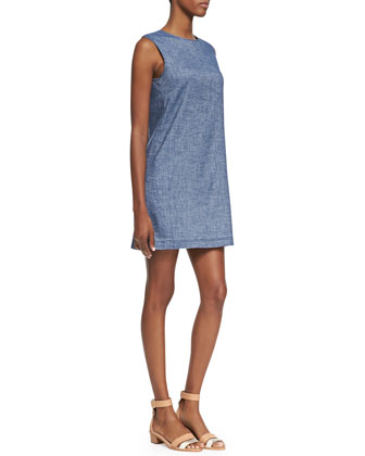 Tierra Sleeveless Chambray Shift Dress