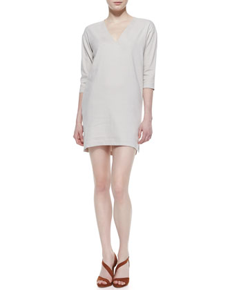 Resort V-Neck Linen-Blend Half-Sleeve Dress