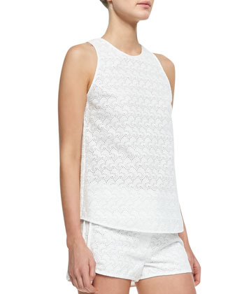 Hudson Ellice Sleeveless Eyelet Top & Ferris Stretch-Twill Flare-Leg Jeans