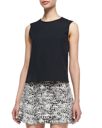 Palatial Sleeveless Stretch-Cotton Top & Tweedscape A-Line Skirt